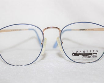 Vintage Lunettes Girard Womens Metal Eyeglass Frame, New Old Stock, Goldtone and Cerulean Blue Colored Frame, 53-18-145, NOS, Item 1