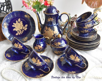 Coffee set vintage cobalt tea set Bavaria 24 carat gold Germany tea cup set german porcelain cobalt teacup set for six