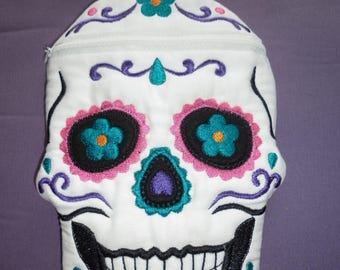 Large Day of The Dead Purse, Sugar Skull, Skull Candy - Embroidered Zippered Pouch