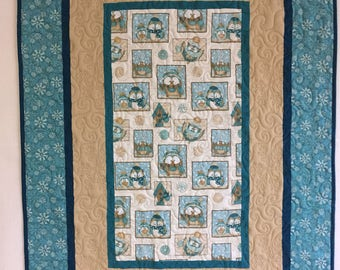 Flannel Owl Baby Quilt with Tan