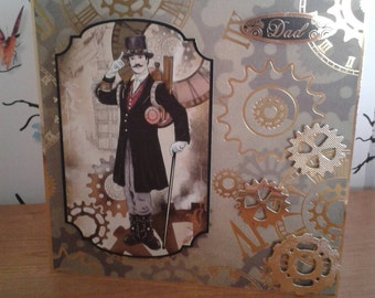 Male Birthday Card, Birthday, Male Card, Fathers Day Card, Handmade, Greeting Card, Steampunk, Alternative Card