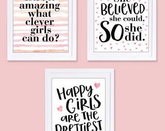 Pink Nursery Art, Set of 3 Prints, She Believed She Could So She Did, Happy Girls are the Prettiest, Audrey Hepburn Quote, Girl Power