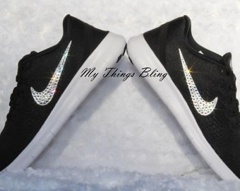 Woman's Nike Free RN W/Swarovski Crystals - Black/White-Anthracite