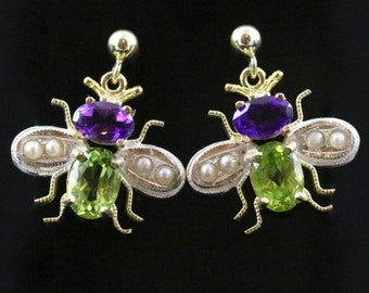 Suffragette Insect Bee Earrings Amethyst Peridot Pearls suffragette style