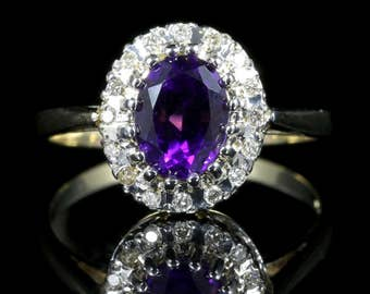 Diamond and Amethyst Gold Cluster Ring