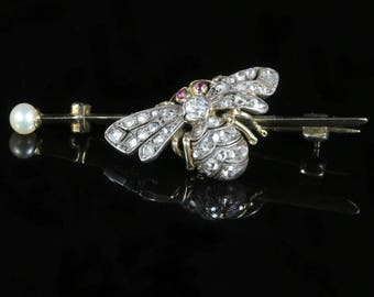 Antique Victorian Diamond Insect Butterfly Brooch 18ct Gold Circa 1900