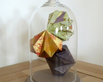 Bell diamonds Origami, Washi, H. 20 cm - diamonds, gold, dark blue, green Japan (limited edition)