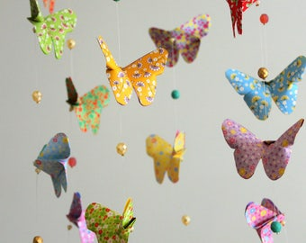 Origami butterflies Liberty cloud baby mobile