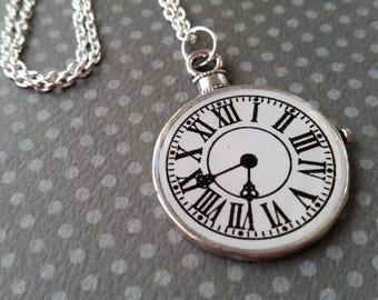 Silver Clock Pendant Necklace