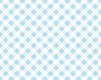 SALE Aqua Gingham Quilt Fabric - Sew Cherry 2 - Riley Blake Designs - Lori Holt
