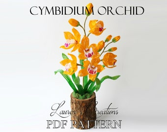 PDF PATTERN - French Beaded Cymbidium Orchid Pattern by Lauren Harpster, seed bead flower tutorial, Lauren's Creations, DIY beading project