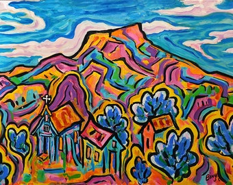 The Pedernal *Giclee print, southwest, mountains, impressionism, matted print, high desert, landscape, colorful, wall art