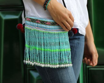 Vintage Cross Body with beads and pom pom, Bohemian bag, Ethnic bag, Hmong Bag