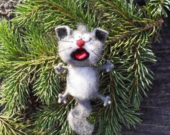 Singing cat, felt cat, gray,Toys, magnet or brooch, Felt doll, Handmade toys, Needle felting, Felt toys, toy, gifts, Gifts for her