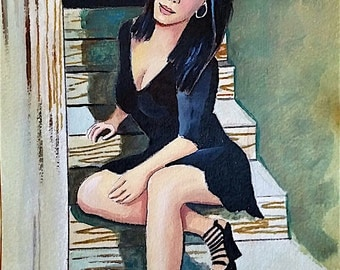 Commissioned Glamour Pin-up Style Portraits in Pen and Inc, Watercolor, and Acrylic