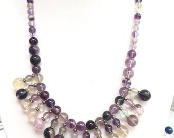 Fluorite bib nekclace / fluorite gemstone necklace / purple beaded necklace / bib necklace / fluorite jewellery / gemsotne necklace