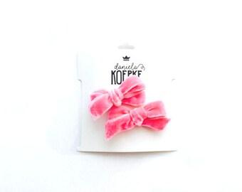 Bubblegum Pink Velvet Bows, Pigtail Set, Bubblegum Pink, Hand-Tied
