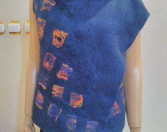 Beautiful felted dark blue vest, 21 micron wool.
