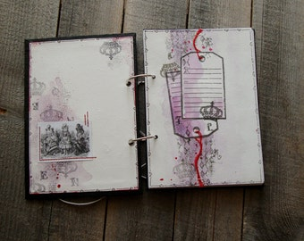 "Handmade Notebook ""Alice"",A5 Notebook,Mixed-media Notebook,Girl's Diary,2-ring binder Notebook,Gift for her"