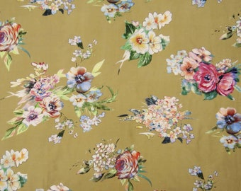 """Floral Print Fabric, Home Decor, Beige Fabric, Sewing Accessories, Indian Fabric, 43"""" Inch Cotton Fabric By The Yard ZBC7563A"""