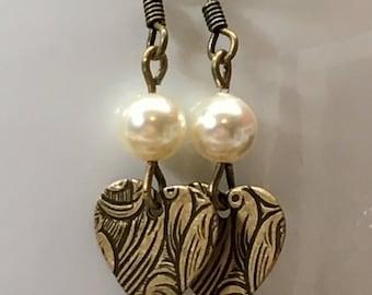 Antique brass dangle earrings with swarovski pearls