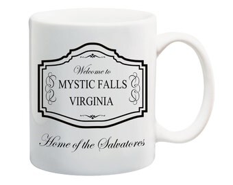 Vampire Diaries coffee mug with print Mystic Falls Home of The Salvatores TVD coffee mug The Vampire Diaries fan mug