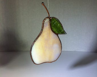 Ivory PEAR - Stained Glass - Sun Catcher - Handmade - Debera Temperton