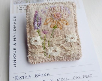 embroidered brooch, flower border, stitched flowers, stitches and lace, eco silk stitched, flower brooch