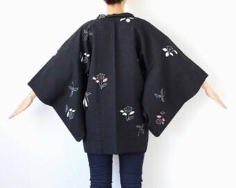 Japanese kimono, Haori, silk robe, Japanese kimono, minimalist /1572