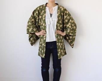 mos green floral Haori, kimono, Japanese kimono jacket, silk jacket /1588