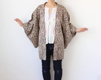 kimono, haori, beige, Japanese kimono, silk kimono /1607