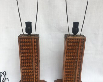 Pair Chinese Abacus Lamps with brass corners