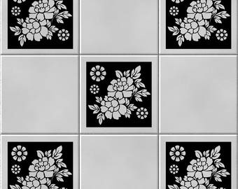 Pack of 5 Tile/ Wall Art Vinyl Decal Sticker Stencil Adhesive Home Decor (5 Designs)