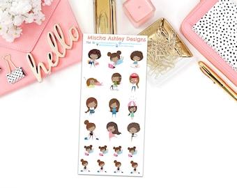 754 dark haired girl/ Planner stickers -  Erin Condren lifeplanner stickers, kikki k, filofax, mini, functional