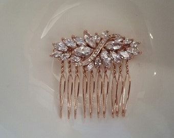 Rose Gold CZ Cubic Zirconia Hair Comb, 4.5 x 2 cm, Bridal Hair Jewelry, Wedding Hairpieces