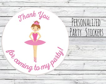 Personalized Ballerina 1st Birthday Party Favor Tags, Dancer Theme, Bag Tags, Thanks for Coming, Stickers, Ballet You Choose Size