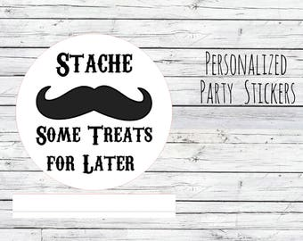 Personalized Mustache Baby Shower, Envelope Stickers, 1st Birthday, Birthday Party Favor, Thank You Tags, Stickers Labels  Treats for later