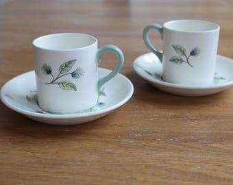 Pair of Wedgwood Woodbury espresso cups and saucers
