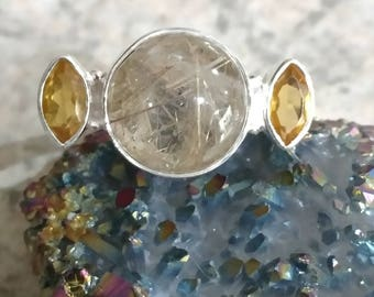 Golden Rutilated Quartz and Citrine Ring, Size 7 1/2