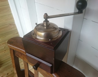 Charming Continental Vintage Wooden Coffee Grinder