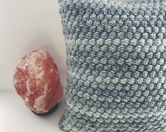 "Grey Denim Bobble Pillow // Decorative Textured Cushion, 16"" x 16"""