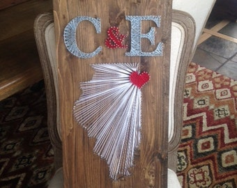 Custom Handcrafted String State Art Wooden Sign