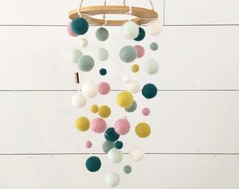 Crib Nursery Mobile - Secret Garden Wooden Swing Mobile MINI / Baby Girl Nursery Decor, Nursery Decor, Baby Shower Gift, Floral Nursery