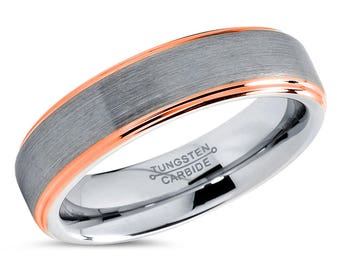 Tungsten Wedding Band,Tungsten Wedding Ring,Anniversary Band,Grooms Ring,Engagement Band,Handmade,His,Hers,Custom,6mm 18k Rose Gold Ring