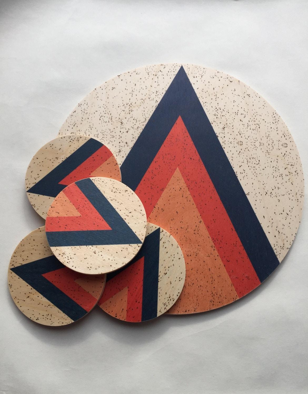 Arrow Modern Wood Coasters Geometric Coasters Midcentury