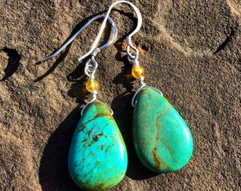 Turquoise earrings with yellow agate