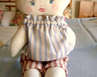 Boy doll, rag doll, cloth doll, brown hair, soft toy, washable