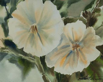 Original watercolor of bloom yellow flowers , size 7 x 10 inches with signed