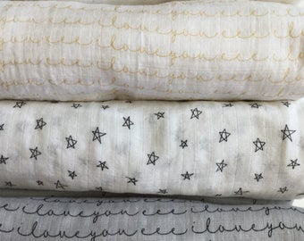 Extra Large Swaddle blanket, double gauze blanket, baby blanket, i love you gauze swaddle, muslin swaddle, stars swaddle.