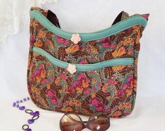 Floral Hobo Bag/Old Fashion Floral Shoulder Bag/Handmade Hobo Bag/Hobo Bag With Pockets/Large Floral Shoulder Bag/Large Floral Hobo Bag/USA